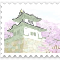 桜の木とお城(龍野城)