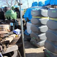1000リットルのタンク16台出荷準備中 雨水タンク。今日の加工場風景 #雨水利用