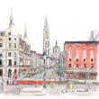 ベルギー アントワープの聖母大聖堂 世界わがスケッチの旅