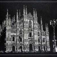 「ミラノ大聖堂」 剪画(切絵) 73x53cm(20号)!!