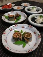 サンマ明太(秋刀魚ロール)とまるごと茄子の揚げ浸し。