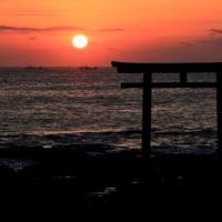 大洗海岸へ朝日撮り