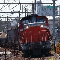 コンテナ列車を牽引するDD51国鉄色