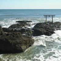 大洗海岸 神磯の鳥居で拾った不思議な石。