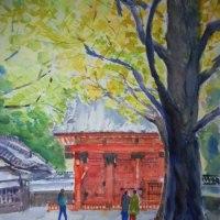 赤門と銀杏(B3)水彩