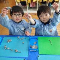 あお 3歳児 粘土遊び☆
