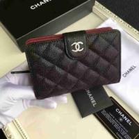 シャネルコピー 新品 二つ折財布 キャビアスキンブラックシルバー金具