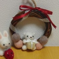 羊毛くまのクリスマスリース