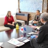 国際協力都市ニュージーランド・ハット市にあるセクレット・ハート・カレッジから、セーラ・ノウルズさんが倉田市長・具田教育長を表敬訪問されました!!