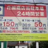 花園商店街駐車場の利用料金が変更になりました。