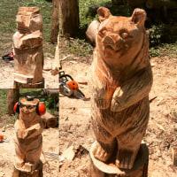 【彫刻】熊と梟