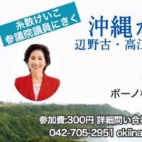 「沖縄からの報告 辺野古・高江で起きていること」2月23日(木)7時 参議院議員 糸数けいこさん講演会