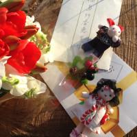 プレゼントと素敵なお花、手作りマスコット人形、お手紙ありがとうございました。