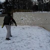 べた雪だから、雪玉作り