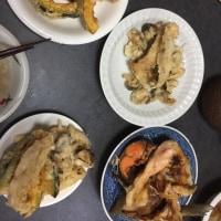 かぼちゃ、椎茸、エリンギ、天ぷら、鮭頭塩焼き
