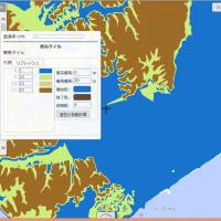 0メートル地帯と標高マイナス1メートル以下範囲を色塗り区別する地図や標高5メートルおきの地図の作り方
