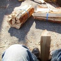 「登り窯まつり」の準備 薪割り