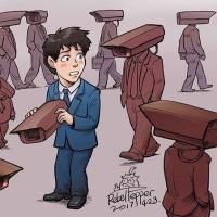 中国では、「密告奨励法」。何やら共謀罪に似ているようですが、かの国でも反対派がこんな風刺画を