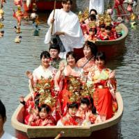 福岡  華やぐ、水上おひな様 女の子らがパレード 福岡・柳川