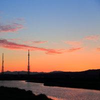 金沢市 犀川河口から見る白山と剣・立山