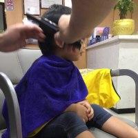 息子、初めての美容院