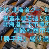 2016 北海道ツー 8日目 ① 根室本線を辿り釧路へ  北海道三大市場の一つ 釧路和商市場 「勝手丼」 コリャ盛り過ぎだぁw  ^^! ブログ&動画