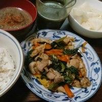 「今日のお昼ご飯」!!「豚肉・人参・ほうれん草の炒め物」!!