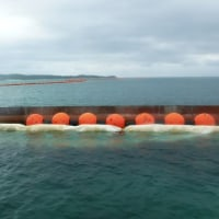海に向けて工事用道路の整備が進められる。
