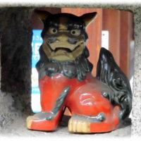 話題の笑う狛犬シリーズ(^^♪「聖護院 積善院準提堂」の珍しい灯篭の火袋の中の笑う狛犬