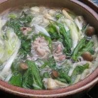 厚揚げを煮てネギとキクナが一杯のそばの鍋で土曜の晩ごはん