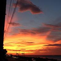 台風直撃6時間前の日本海夕焼け