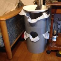 巨大塩ビパイプのゴミ箱