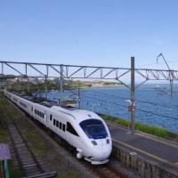 長崎本線小長井駅で885系特急(白い)「かもめ」を撮影