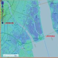 愛知県の海抜ゼロメートル地帯(海面よりも低い)と「海面よりも1メートル以上低い」範囲の地図