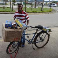 自転車で花火販売