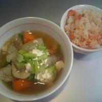 鮭ご飯&ゴロゴロけんちん汁