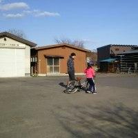 自転車の練習中…