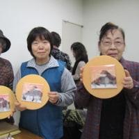 赤富士のミニ色紙(押し花)
