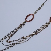 オーバルパーツのロングネックレス2種