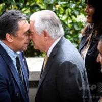 鼻もつぶれるほどに…米国務長官、NZでマオリ式の歓迎
