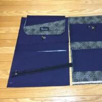紺色の帆布でショルダーバッグ製作中!