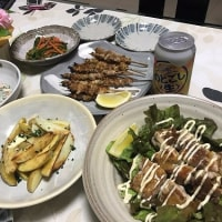 晩ご飯☆鶏ももカリカリ焼きサラダ仕立て&皮焼き☆