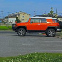 平成29年1月17日 オレンジのFJクルーザー冬タイヤに履き替え