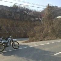 岡山県北、泉山あたりの峠道、残雪多し