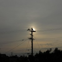 強い北風が吹いている。3月26日、日の出前、と日の出の後。