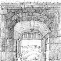 ペン画 首里城門
