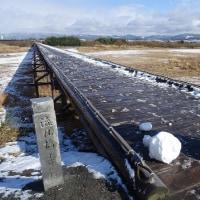 流れ橋とジョウビタキ