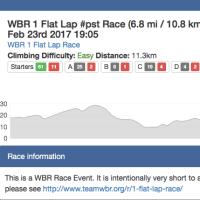 WBR 1 Flat Lap #pst Race (6.8 mi / 10.8 km)
