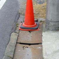 工房前の側溝が危険!
