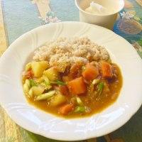 ココナッツオイルカレー スペルト粉とスープの残りを使って